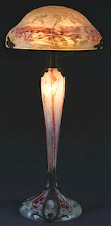 Monumental Daum Cameo Glass Lamp.