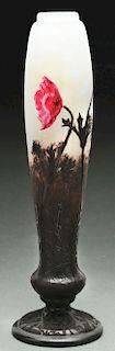 Daum Padded Wheel Carved Vase.