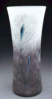 Daum Peacock Vase.