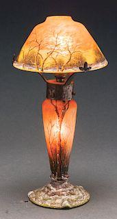 Daum Cameo and Enameled Boudoir Lamp.