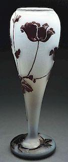 Daum Nancy Cameo Poppy Vase.