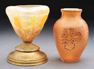 Lot of 2: Daum Cameo Vases.
