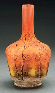 Daum Winter Scene Vase.