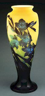 Monumental Galle Iris Vase.