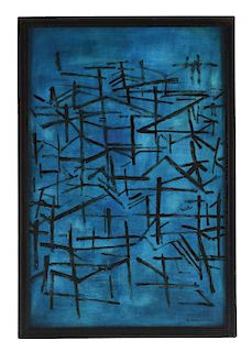 KAZUO NAKAMURA (Canadian, 1926-2002) UNTITLED ABSTRACT IN BLUE.
