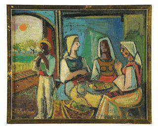 BENCHO OBRESHKOV (Bulgarian, 1899-1970) BULGARIAN WOMEN AROUND A TABLE.