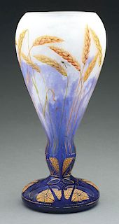Daum Cameo and Enameled Wheat Vase