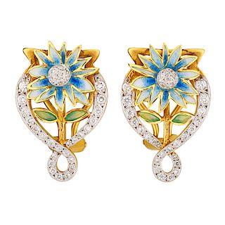 MASRIERA Y CARRERAS ENAMELED YELLOW GOLD FLOWER EAR CLIPS