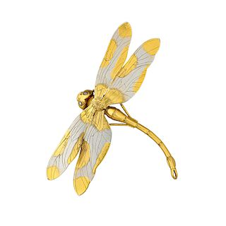 TIFFANY & CO. AESTHETIC MOVEMENT MIXED METAL DRAGONFLY BROOCH