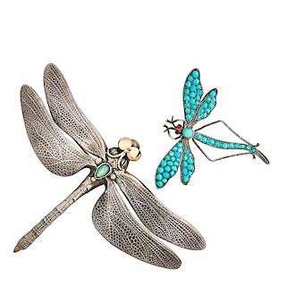 GEM-SET SILVER INSECT BROOCHES