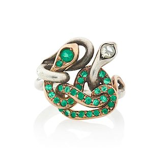 VICTORIAN GREEN GARNET & DIAMOND SERPENT RING