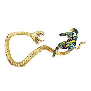 FRENCH ENAMELED YELLOW GOLD SERPENT BROOCH