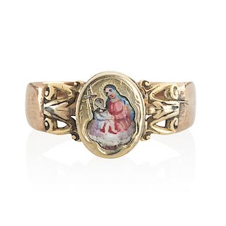 EARLY 20TH C. ENAMELED MOTHER & CHILD YELLOW GOLD LOCKET RING