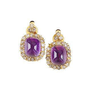 EDWARDIAN AMETHYST, DIAMOND & YELLOW GOLD DROP EARRINGS
