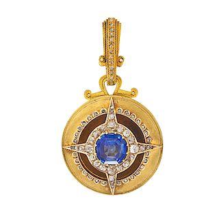 VICTORIAN SAPPHIRE, DIAMOND & YELLOW GOLD PENDANT BROOCH