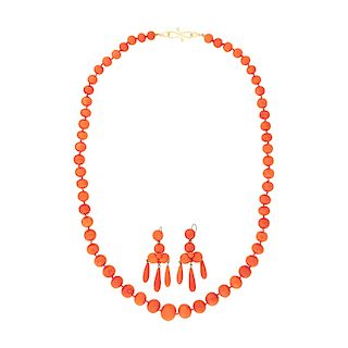 VICTORIAN CORAL NECKLACE & EARRINGS