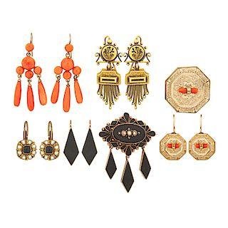 VICTORIAN EARRINGS & BROOCHES