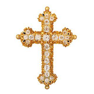 VICTORIAN DIAMOND & YELLOW GOLD CROSS PENDANT BROOCH