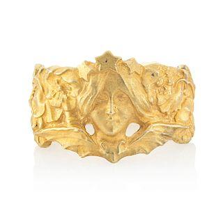 ART NOUVEAU YELLOW GOLD BAND RING