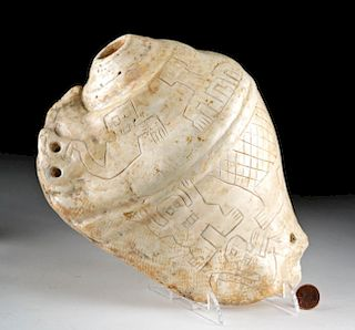 Extremely Rare Chavin Shell Trumpet w/ Incised Figures