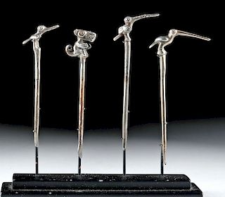 Lot of 4 Moche Gilded Silver Coca Spoons - 28.3 g