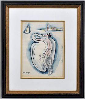 """Attr Kees van Dongen, W/C/P """"Leda & the Swan"""""""