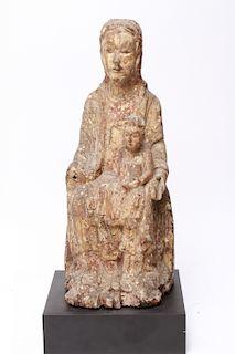 Antique Santos Virgin Mary w Christ Child Wood