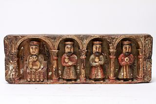 Polychrome Wood Mary Christ & 3 Wise Men Sculpture