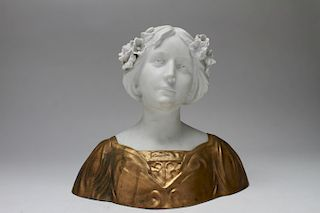 D. Alonzo Art Nouveau Bisque & Gilt Bronze Bust