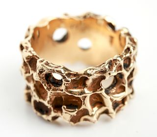 14K Yellow Gold Brutalist Ring