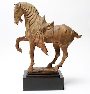 Chinese Tang Dynasty Horse Pottery Sculpture