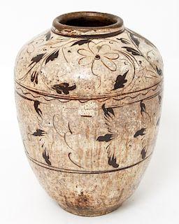 Chinese Ming Cizhou Large Vase Black & White Glaze
