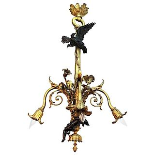 French Bronze Chandelier w Eagle Putti, 19th C.