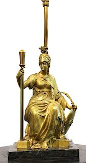 French Neoclassical Manner Athena Table Lamp