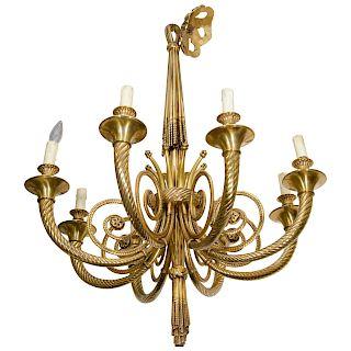 Neoclassical Manner Bronze Chandelier