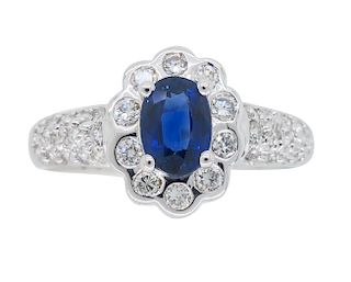 Estate 18k Diamond & Blue Sapphire Halo Ring