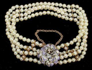 14K Gold & Diamonds Enamel 4 Strand Pearl Bracelet