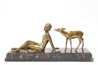 Art Deco Woman & Doe Bronze Sculpture