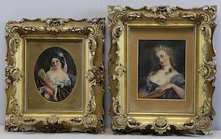 MARSH, John. Two 19th C. Oil on Paper Portraits of