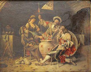 CORNEAU, Josef. Oil on Wood Panel. Tavern Scene.