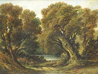 EWBANK, John. Oil on Canvas. Figure on Wooded