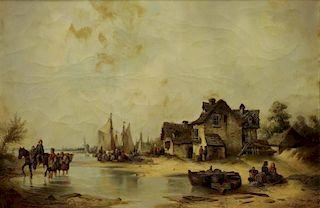 HERMANN, Ludwig. Oil on Canvas. Dutch Coastal