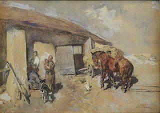 BACHMANN. Watercolor on Paper. Farm Scene.