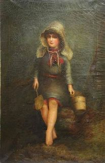 19th C. Oil on Canvas. Young Girl with Shovel and
