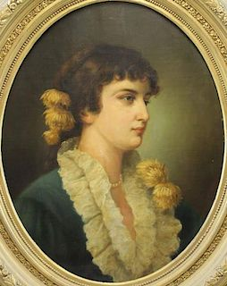 HAWKINS. 19th C. Oil on Canvas Portrait of a Woman