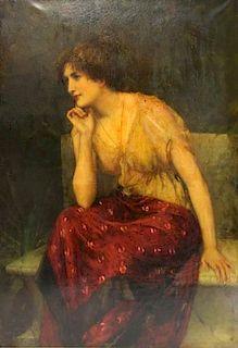 "OLIVER, William. Oil on Canvas. ""Meditation""."