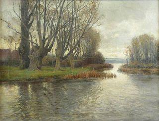 HARDER, Heinrich. Oil on Canvas River Landscape.