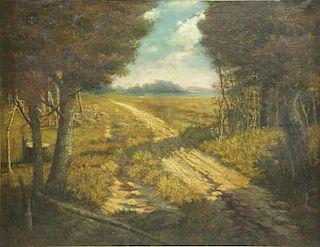 DEMONT, Adrien. Oil on Canvas. Pastoral Landscape