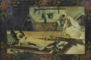 19th C. Orientalist Oil on Canvas. Morning the