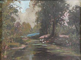 RUPPRECHT, Wilhelm. Oil on Canvas. River Landscape